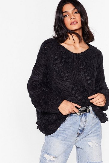 Black Oh My Heart Chunky Knit Sweater