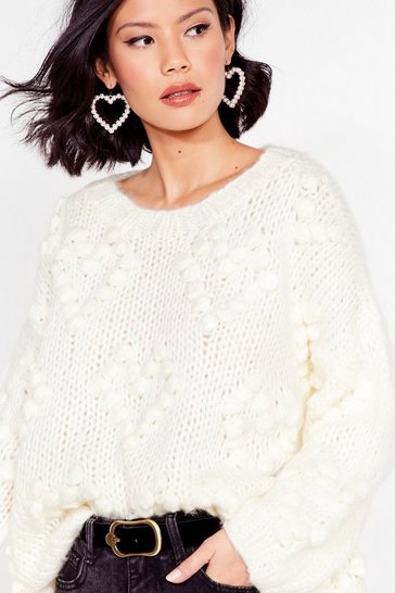 Cream Oh My Heart Chunky Knit Sweater