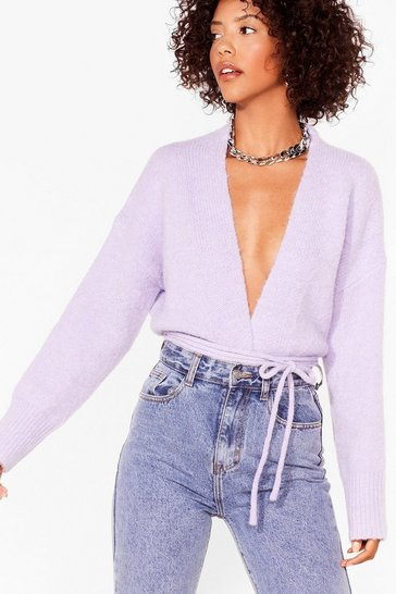 Lilac Tie-ing Our Luck Fluffy Knit Cardigan