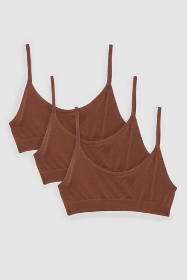 Chestnut Seamless 3-Pc Scoop Neck Bralette Set
