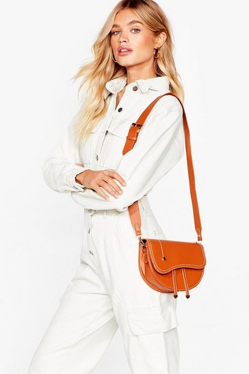Tan WANT What in the Satchel Faux Leather Bag