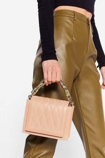 Beige WANT Link Fast Quilted Crossbody Bag