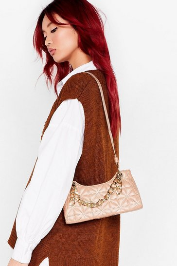 Beige Faux Leather Chain Detail Shoulder Bag