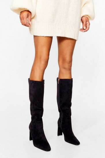 Black Faux Suede Heeled Calf Boots