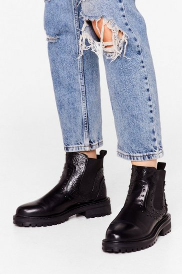Black Get Low Faux Leather Pull-On Boots
