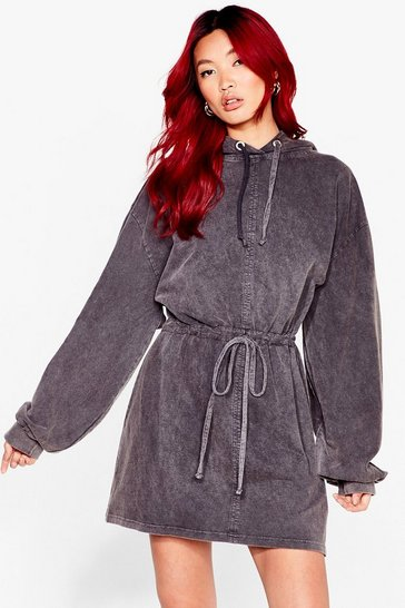 Grey We Know Wash to Do Drawstring Hoodie Dress