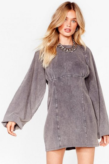 Grey Oversized Acid Wash Sweatshirt Dress