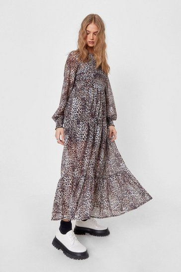 Brown Tier 'Em Apart Leopard Maxi Dress
