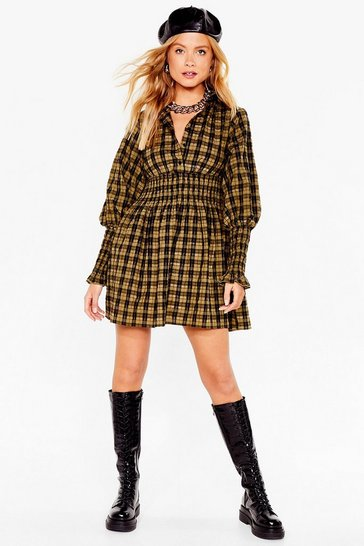 Olive Check Shirred Puff Sleeve Shirt Dress