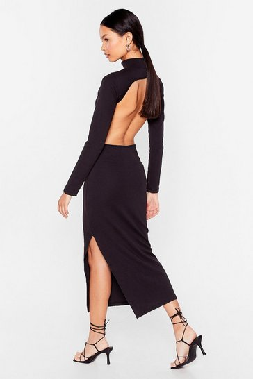 Black Open Your Eyes Ribbed Midi Dress