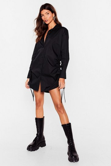 Black Don't Ruche Oversized Shirt Dress