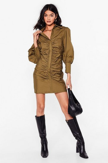 Black Hey What's the Ruche Mini Shirt Dress