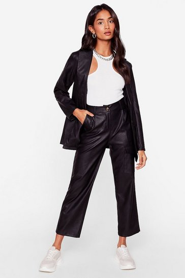 Black Takin' Care of Business Faux Leather Wide-Leg Pants