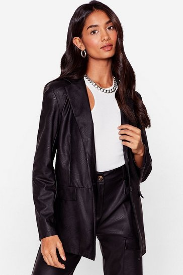 Black Takin' Care of Business Faux Leather Relaxed Blazer