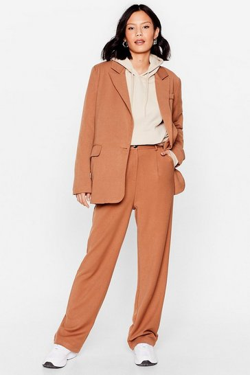 Camel Meeting in Progress Tailored Wide-Leg Pants