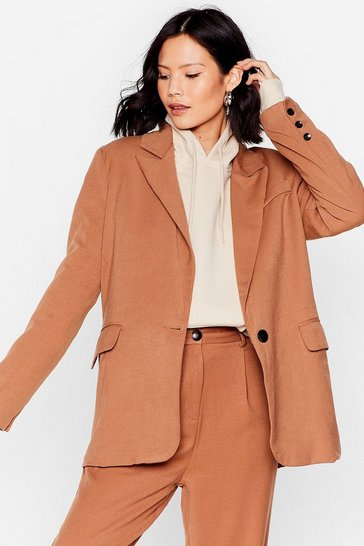 Camel Tailored Button Sleeve Blazer