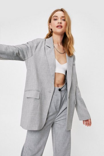 Grey Meeting in Progress Oversized Tailored Blazer