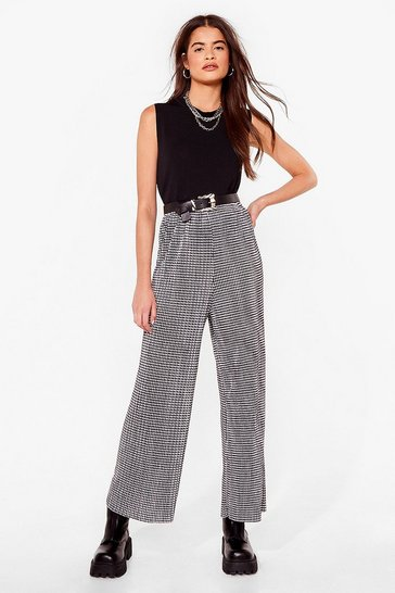 Black New Houndstooth Here Wide-Leg Pants