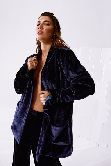 Navy Can You Feel It Relaxed Velvet Blazer