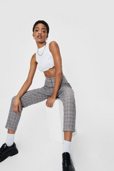 Grey Check High Rise Tapered Pants