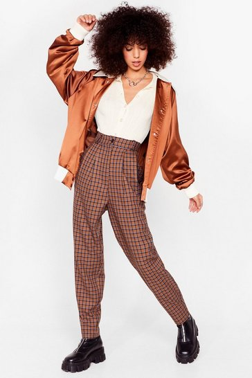 Brown Check High Waisted Pleated Pants
