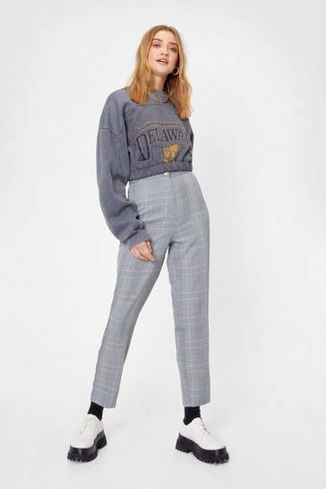 Grey Houndstooth High Waisted Tapered Trousers