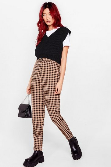 Camel Almost Square High-Waisted Gingham Pants