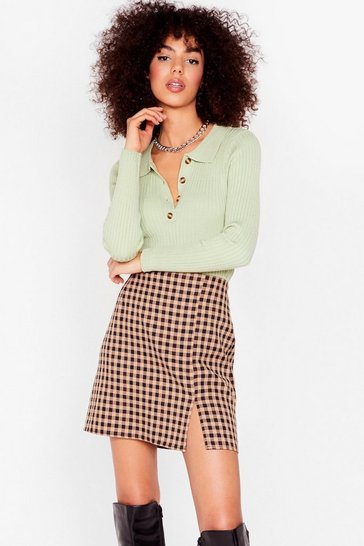 Camel Check Mate Gingham Mini Skirt