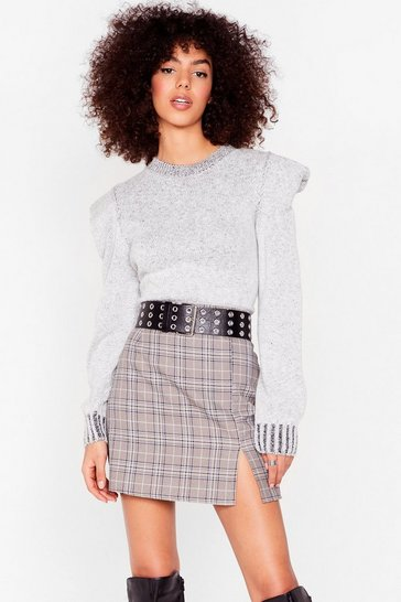 Grey Get On With Slit Check Mini Skirt