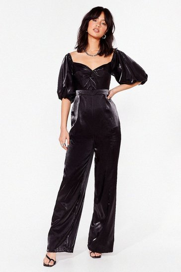 Black Let's Twist Again Puff Sleeve Wide-Leg Jumpsuit