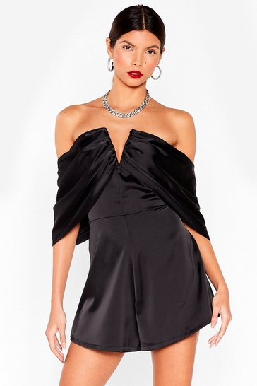 Black v bar drape sleeve playsuit