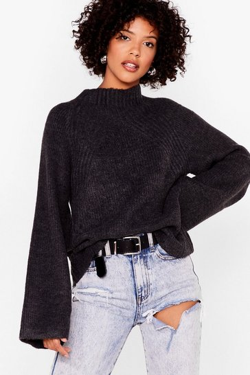 Charcoal Flaring to Go Ribbed Knit Sweater