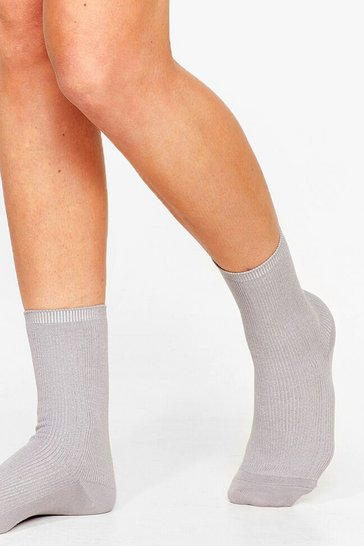 Grey We Feet Again Ribbed Ankle Socks