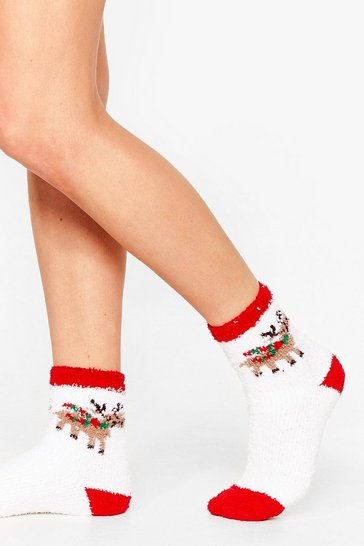 White Girl You Sleigh Reindeer Bed Socks