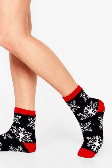 Black A Little Flakey Snowflake Bed Socks