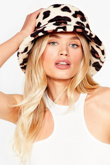 Natural Leopard at Work Faux Fur Bucket Hat