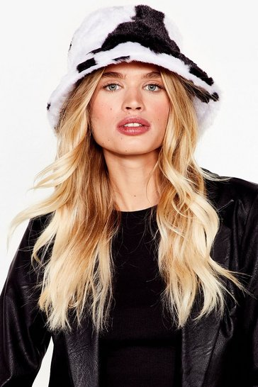 White Anything Faux Fur You Dalmatian Bucket Hat