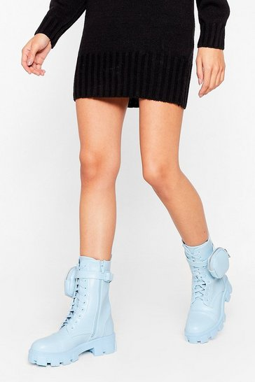 Blue Pocket to 'Em Faux Leather Biker Boots