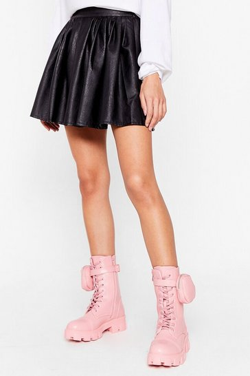 Pink Faux Leather Zip Pouch Biker Boots