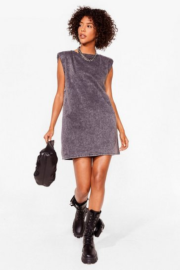 Grey Washin' Our Every Move Denim Mini Dress