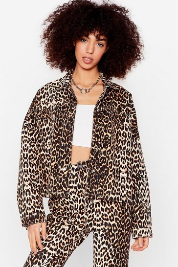 Brown Young Wild and Free Leopard Denim Shirt Jacket