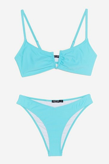 Turquoise Play It Pool High-Leg Bikini Set