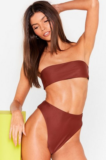 Brown Take Me There High-Leg Bikini Bottoms