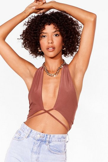 Chocolate Bare Your Soul Wrap Crop Top