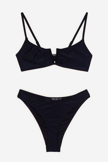Black V Cut Out High Leg Bikini Set