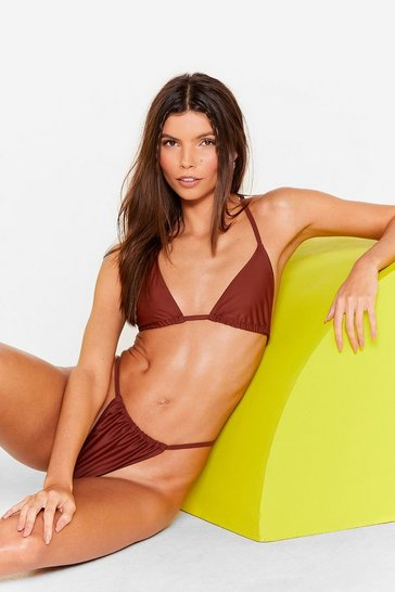Brown On My Mind Ruched High-Leg Bikini Bottoms