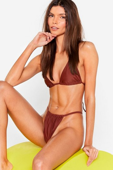 Brown What's Their Triangle Halter Bikini Top