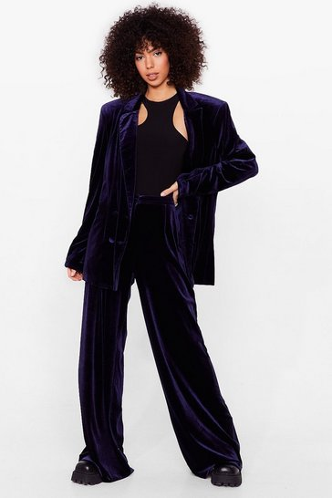 Navy Can You Feel It Petite Velvet Wide-Leg Pants