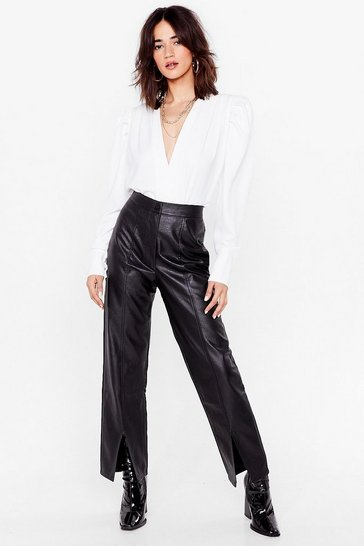 Black Slit's Your Life Faux Leather Petite Trousers