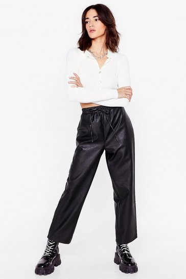 Black Faux Leather Called You Back Petite Jogger Pants